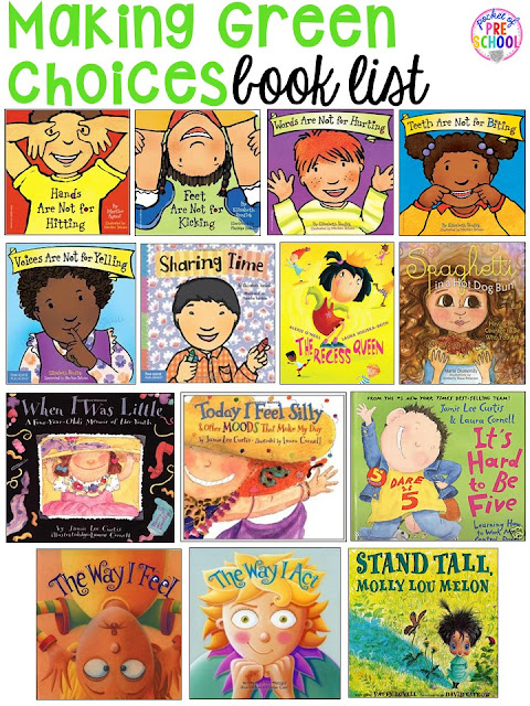 Book List for teaching good choices! Green and red choice behavior management techniques (posters, songs, individual choice boards, class books, and children's books to support) perfect for preschool, pre-k, and kindergarten