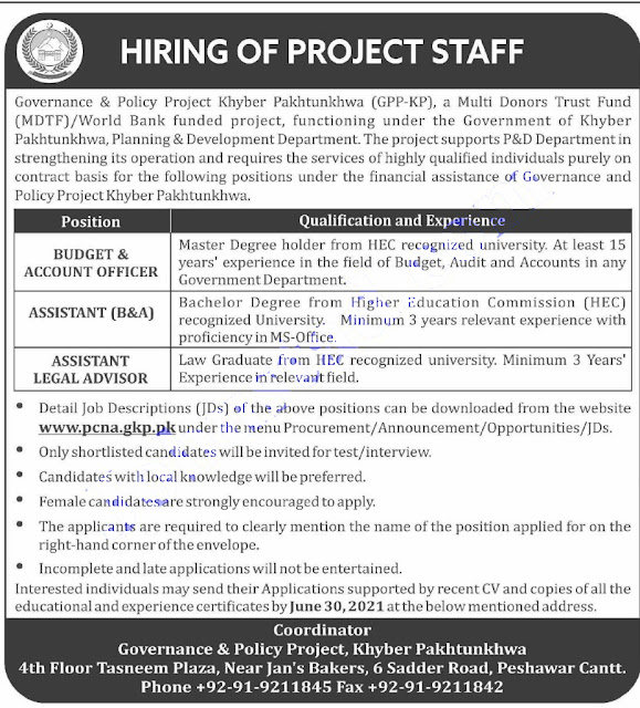 Planning and Development Department KPK jobs 2021