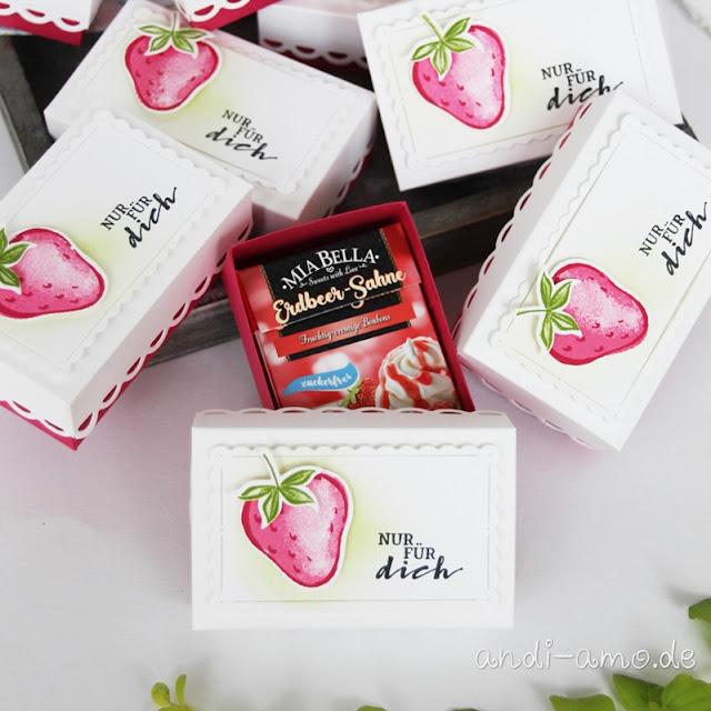 Kleine Box mit Mia Bella Erdbeer-Bonbons Anleitung
