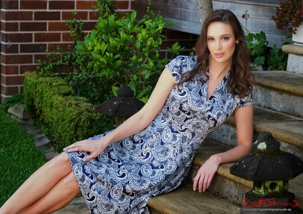 Smart casual dress, Sydney 'country garden' fashion shoot by Kent Johnson.