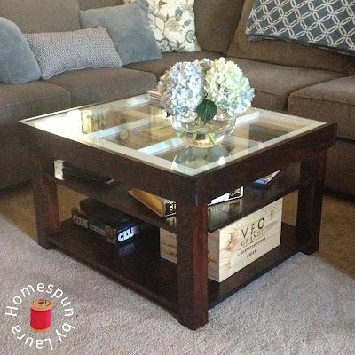 DIY repurposed window coffee table - After