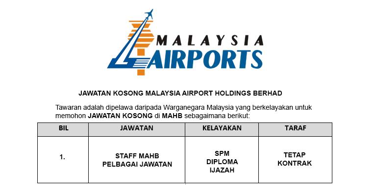 Malaysia Airport Holdings Berhad MAHB [ Jawatan Baru Dibuka ]