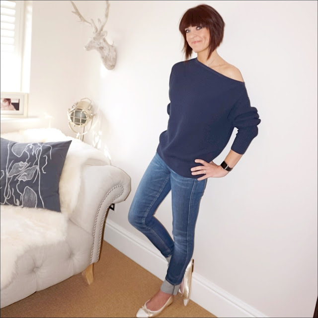 my midlife fashion, & other stories knit sweater, french connection straight leg jeans, j crew metallic pointed ballet pump