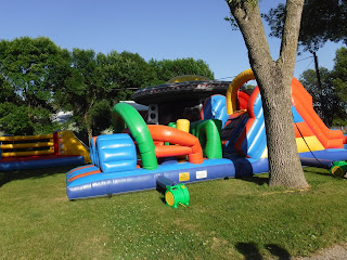an inflatable obstacle course at the North Iowa Fair in Mason City