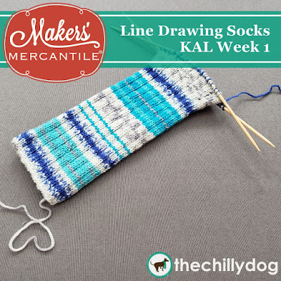 Line Drawing Socks KAL with Makers' Mercantile: Casting on and knitting the leg with our addi FlexiFlip needles and Zitron Art Deco Yarn