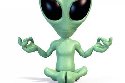 Alien doing Yoga