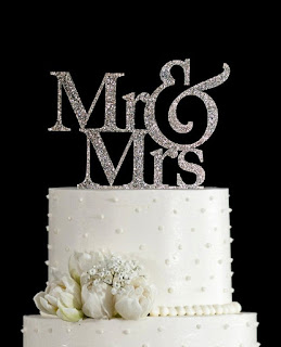 Mr and Mrs Gold Silver swarovski wedding cake topper