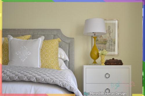 غرف نوم أنيقة بالأصفر والرمادي
