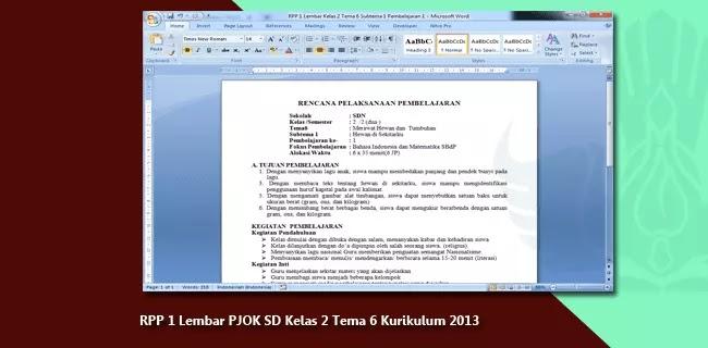 RPP 1 Lembar PJOK SD Kelas 2 Tema 6 Kurikulum 2013