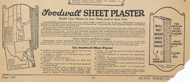Sears early version of drywall or sheetrock -- Goodwall sheet plaster