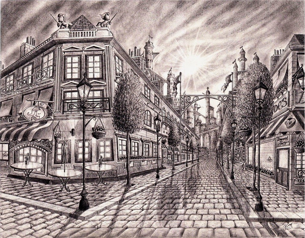 01-Canterlot-streets-Josh-Sung-Strong-Pencil-Fantasy-Drawings-www-designstack-co