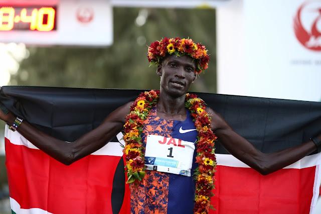 Titus Ekiru mens winner of 47th Honolulu Marathon in Waikiki Hawaii
