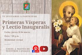 Participar este jueves 18 de marzo 2021 en la oración de las Vísperas y a la Lectio Inauguralis.