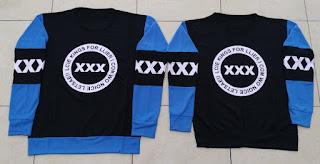 Jual Online Sweater Triple X Black Turquise Couple Murah di Jakarta Bahan Babytery Terbaru