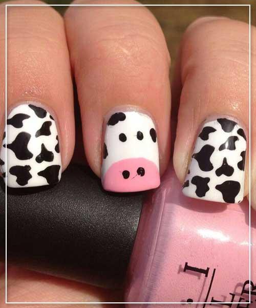 Cow Prints Nail Art Design