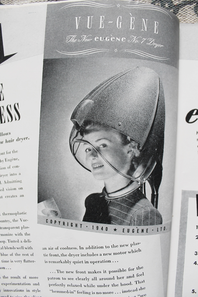 1940s american hairdresser magazine hair dryer ad
