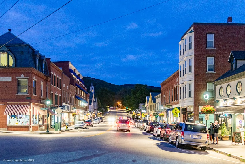 Camden, Maine USA September 2019 photo by Corey Templeton. A view of Camden's Main Street at twilight