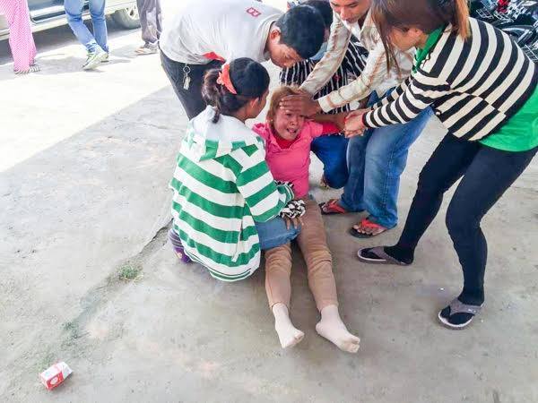 More than 40 workers fainted yesterday at Grand East Footwear International factory in Kandal province. Supplied