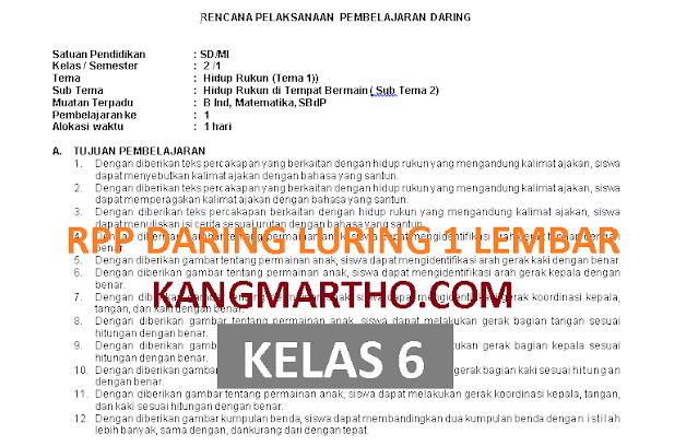 RPP DARING LURING 1 LEMBAR KELAS 6 SEMESTER 1 DAN 2