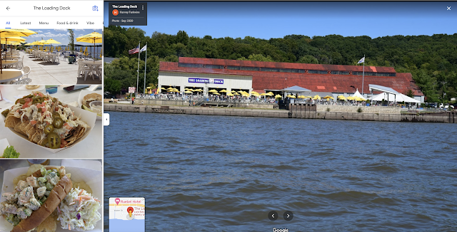 color photos from Google maps of The Loading Dock Grafton Illinois Mississippi River
