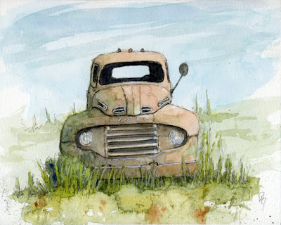 pen watercolor line wash watercolor abandoned Ford truck