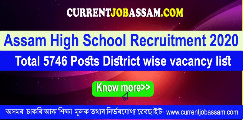 Assam High School Recruitment 2020: Total 5746 District wise vacancy list @ Madhyamik.Assam.Gov.In