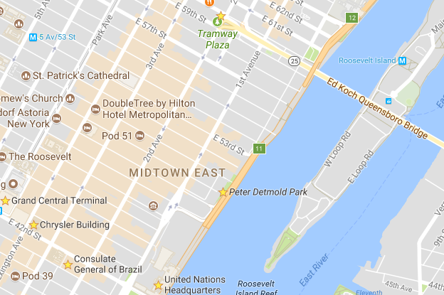 Map of East Midtwon NYC