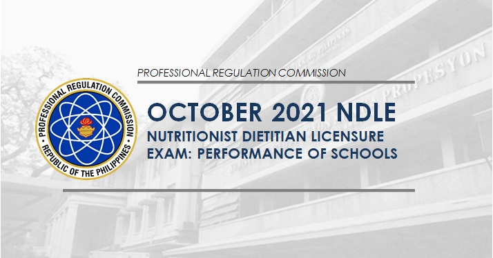 PERFORMANCE OF SCHOOLS: October 2021 Nutritionist Dietitian board exam result