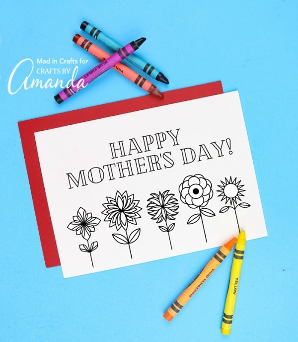 Happy Mother's Day free printable floral card.