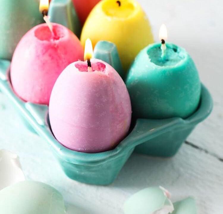 12 velas diy, velas en cáscaras de huevo
