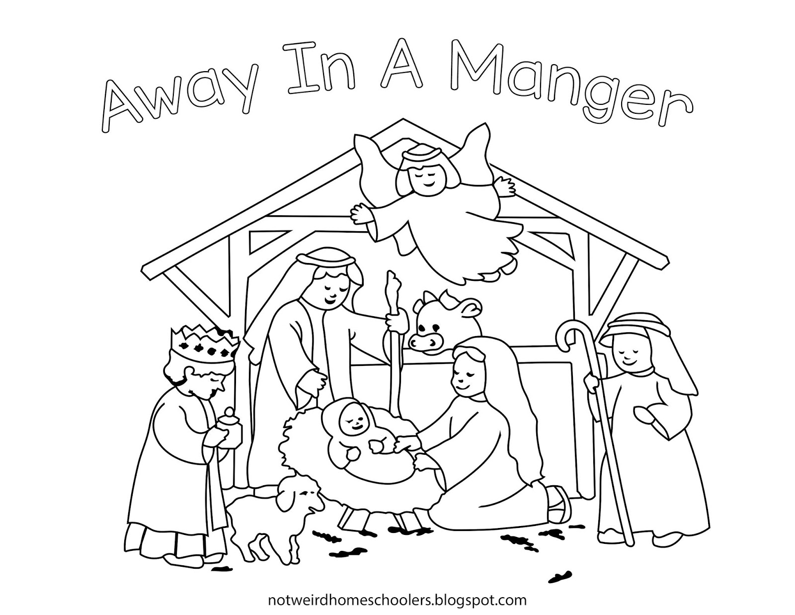 FREE HOMESCHOOLING RESOURCE!!! Nativity Scene Coloring Page