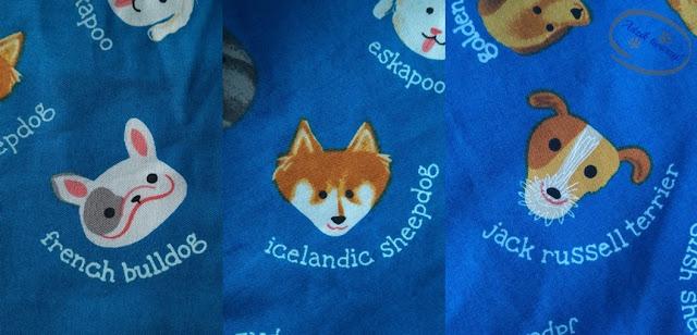 Adzik tworzy - tkanina dekoracyjna rasy psów niebieska