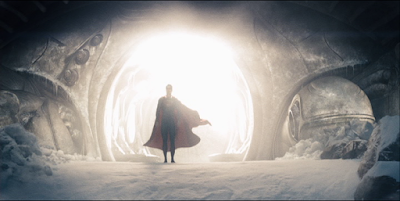 Superman walking out of the Kryptonian ship.