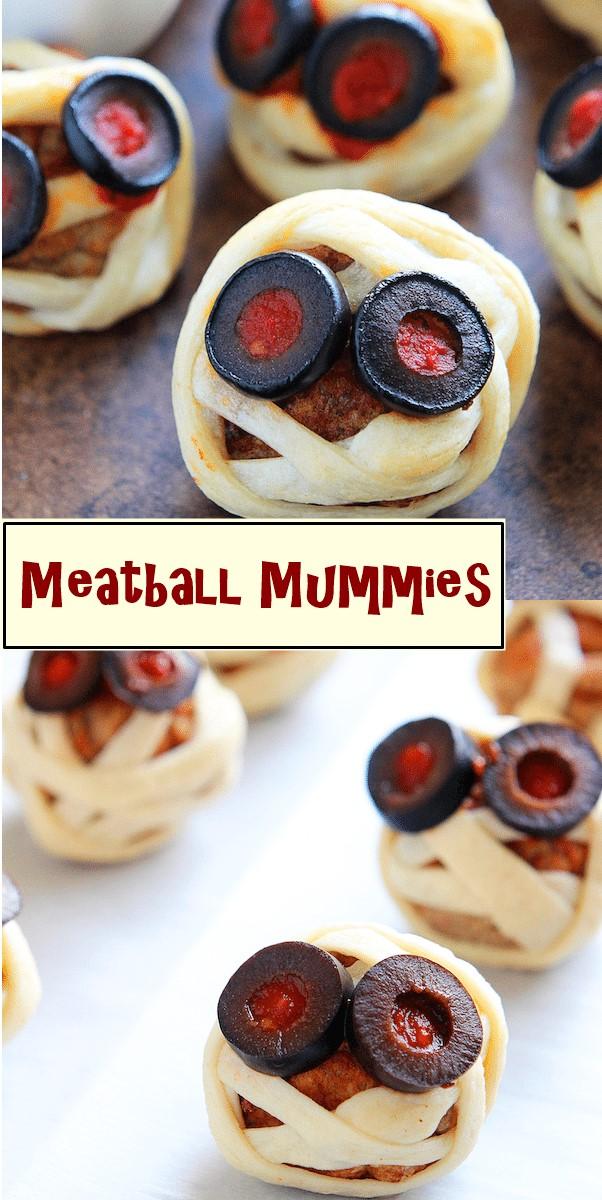 Meatball Mummies #halloweenrecipes