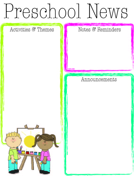 childcare newsletter templates - preschool bright color newsletter the crafty teacher
