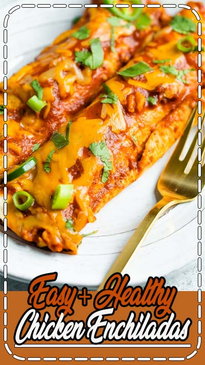 These healthy chicken enchiladas are packed with flavor and nutritious ingredients! The homemade enchilada sauce is the star of this recipe. The filling is full of flavor, corn, and black beans! Made with corn tortillas for a healthy and easy gluten-free weeknight meal. Freezer-friendly and perfect for meal prep!