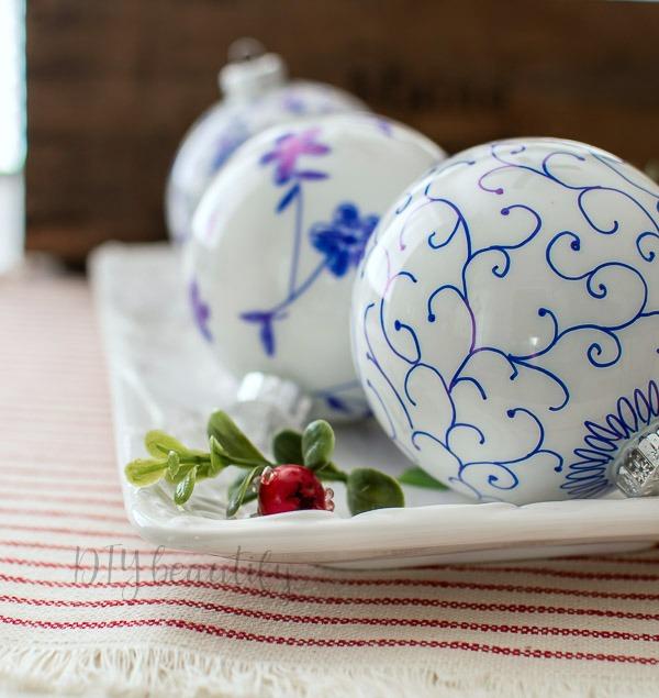 blue Sharpie ornaments