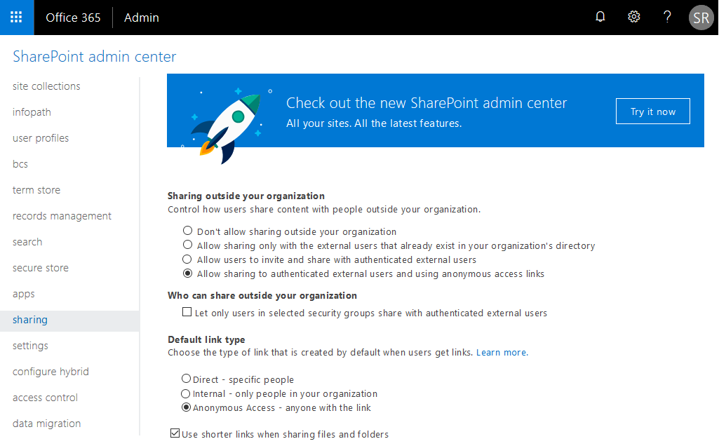 enable external sharing with anonymous access links in sharepoint online