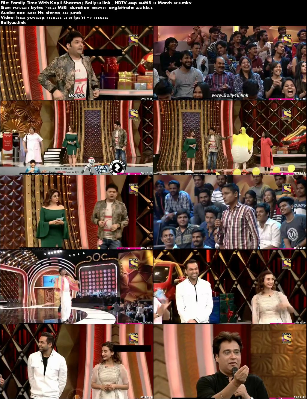 Family Time With Kapil Sharma HDTV 480p 180MB 31 March 2018 Download