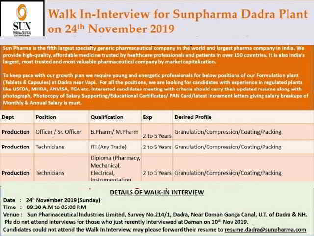 Sun Pharma walk-in interview for multiple positions on 24th Nov' 2019
