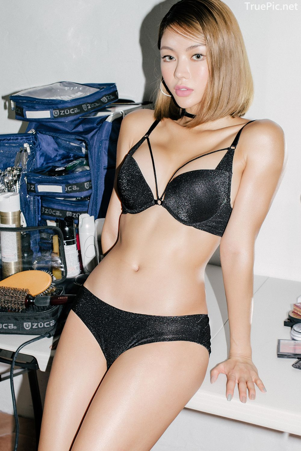 Korean model and fashion - An Seo Rin - Black Lingerie and Choker - Picture 6