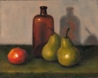 Still life oil painting of two pears, a mandarine and an antique brown-glass bottle.