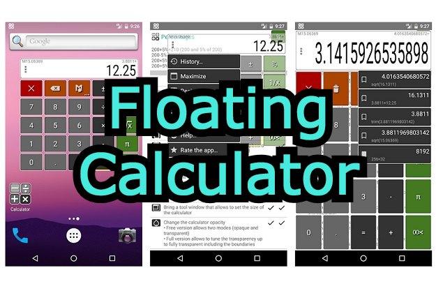 Floating Calculator - Μία αριθμομηχανή που τρέχει πάνω από άλλες εφαρμογές για το κινητό σας