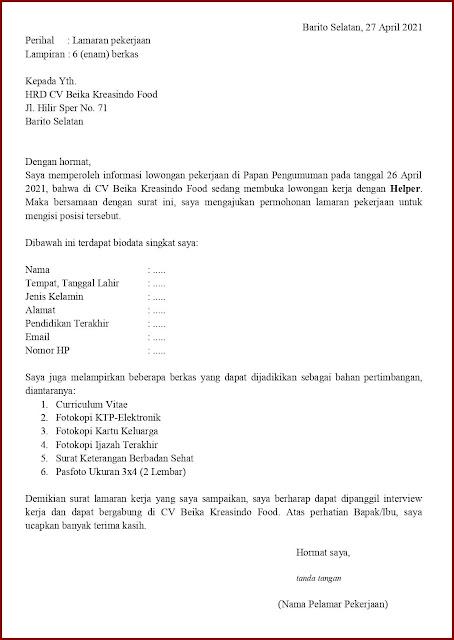 Contoh Application Letter Untuk Helper (Fresh Graduate) Berdasarkan Informasi Dari Media Cetak