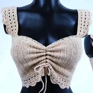 Top Beige a Crochet