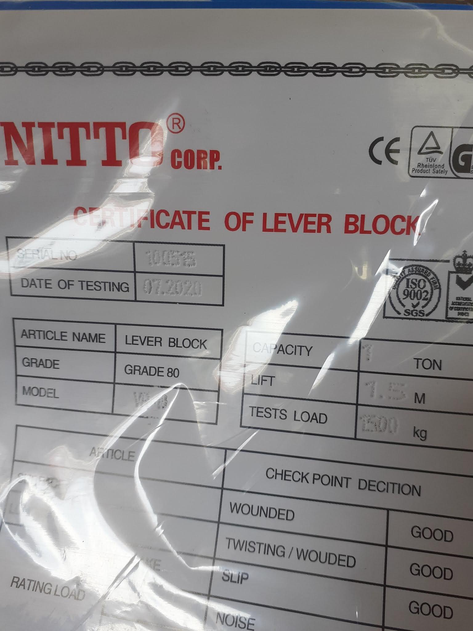 Pa lăng lắc tay Nitto VR-10 1 tấn