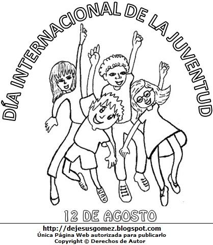 Dibujo alusivo al Día Internacional de la Juventud para colorear pintar imprimir. Imagen del Día Internacional de la Juventud de Jesus Gómez