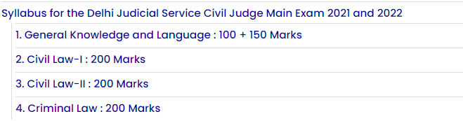 delhi judiciary syllabus