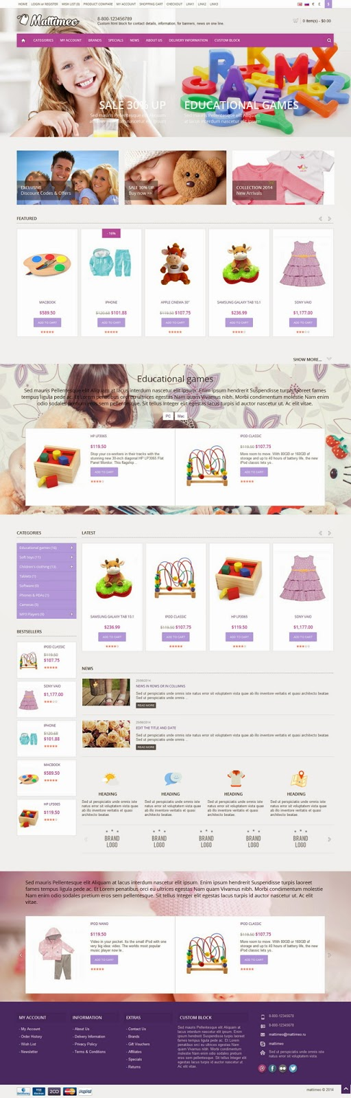 kides sotre website theme