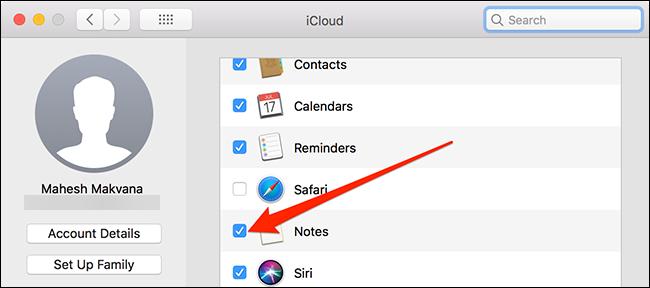 مزامنة ملاحظات macOS مع iCloud